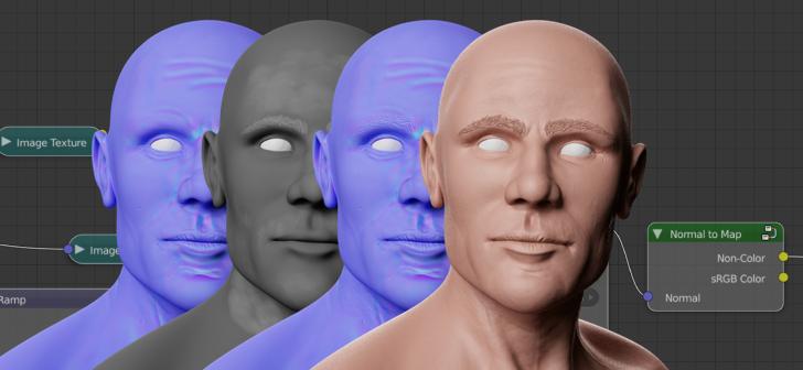 Запекание карты нормалей из материала в Cycles - Blender 3D